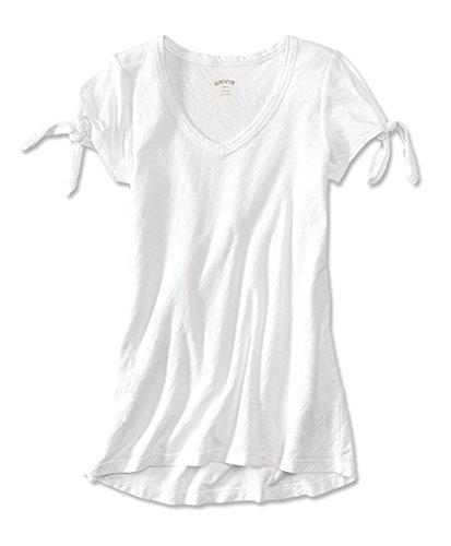 Orvis Women's Tie-Sleeved V-Neck Sunwashed Tee, White, -
