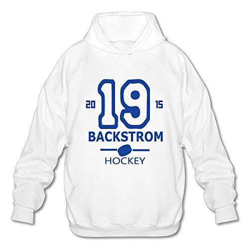 Mens/Boys #19 Backstrom Hockey Player Hooded Sweatshirt White Large