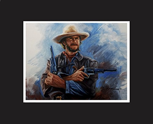 Original oil painting artwork print Clint Eastwood, western movie celebrity with black mat. Limited edition, artist signed.