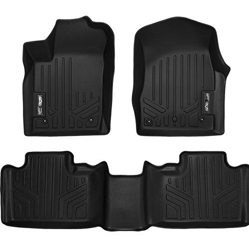 SMARTLINER Floor Mats 2 Row Liner Set Black for 2013-2016 Jeep Grand Cherokee or Dodge Durango with Front Row Dual Floor Hooks