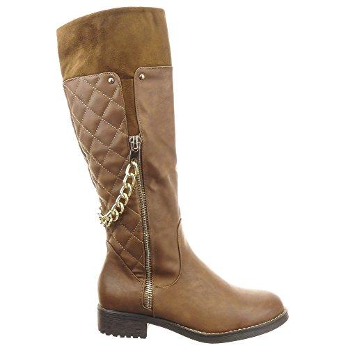 Sopily - damen Mode Schuhe Stiefel Reitstiefel - Kavalier gesteppt schuhe Kette metallisch Schuhabsatz Blockabsatz - Braun