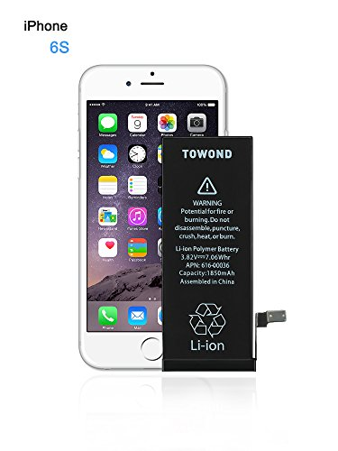 Phone Battery, Towond iP 6S Replacement Li-ion Battery with Complete Repair Tools 1850mAh for iPhone 6S 3.82v(iP6S)