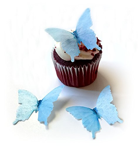 Pastel Light Blue Wafer Paper Butterflies 1.75 Inch for Decorating Desserts Pack of 24 - Light Blue Milk Glass