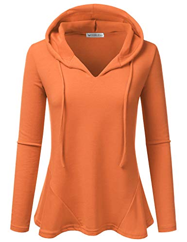 (Doublju Womens Casual Lightweight Long Sleeve Pullover Hoodie with Plus Sizes Orange 2X)