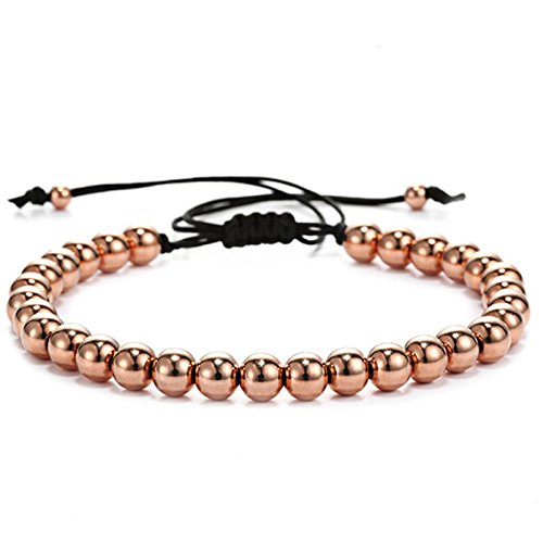 - Yinan Jewelry Adjustable Nylon Rope String Stainless Steel Rose Gold Plated Color 6mm Bead Bracelet