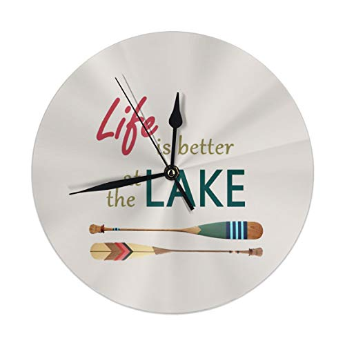 Dadi-Design Life is Better at The Lake Wall Clock Silent & Non-Ticking Quartz Clock PVC for Home Office School Decorative Round 9.8