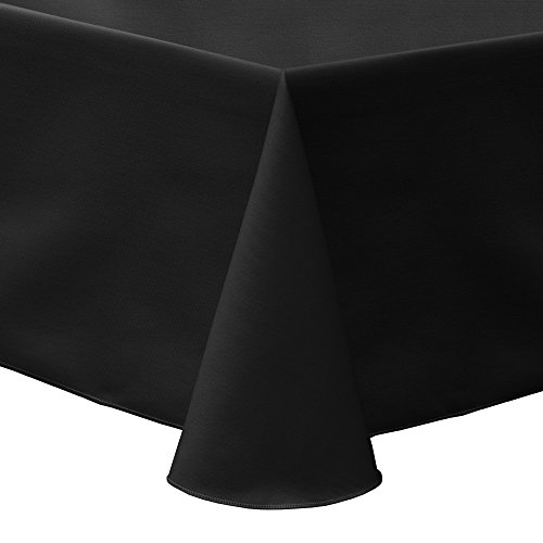 Ultimate Textile Poly-Cotton Twill 60 x 84-Inch Oval Tablecloth Black