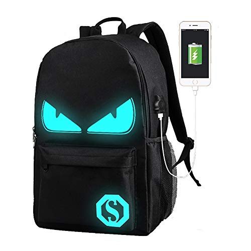 Lmeison Anime Luminous Backpack Daypack Shoulder Bag Laptop Bag with USB Charger Port and Lock & Pencil Case, Unisex Fashion Rucksack Laptop Travel Bag College Bookbag, Black