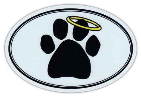 Oval Car Sticker - Dog Paw Print w/Angel Halo - Memorial - Bumper Sticker Decal