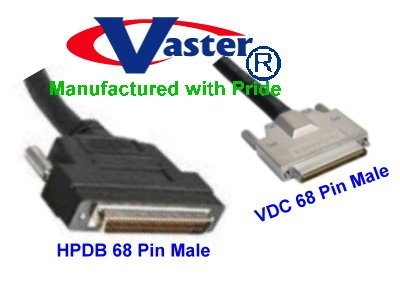 SCSI Cable, SCSI-5 (VHDCI) 0.8mm Male to SCSI-3 (HPDB68) 68-Pin Male Cable, 6 Ft by Vaster
