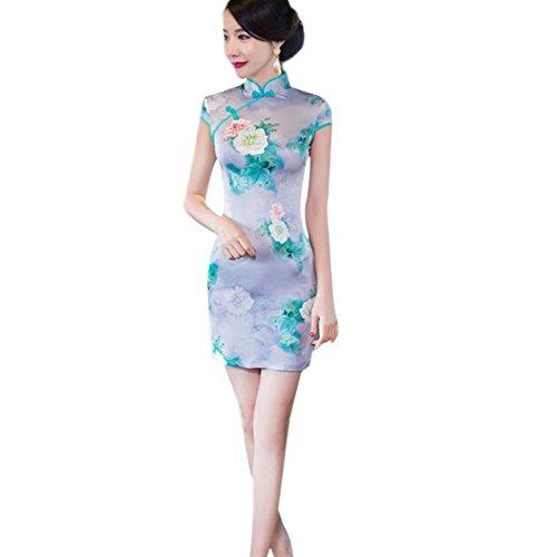 Chino Seda 09 Retro Slim Vestido Qipao Cheongsam Corto Floral noche Hzjundasi Elegante Style Impreso Mujer de ZXxtwT