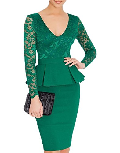 WOOSEA-Womens-V-Neck-Long-Lace-Sleeves-Peplum-Midi-Cocktail-Party-Dress