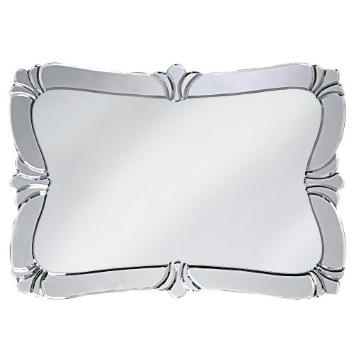 Howard Elliott 11009 Messina Fleur de Lis Ornate Rounded Rectangular Wall Vanity Mirror