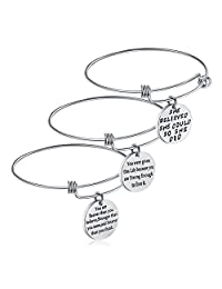 Birthday Gifts for Women Girls - 3PCS Stainless Steel Inspirational Charm Bracelets Jewelry Set Motivational Expendable Bangles Anniversary Gift Ideas