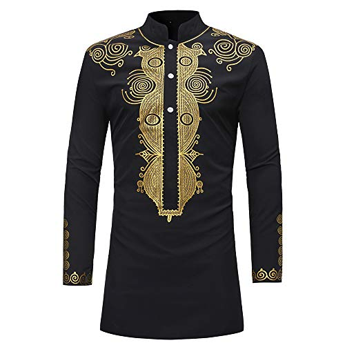 Realdo Mens Long Dashiki, Men's West African Traditional National Hot Gold Printed Long-Sleeved T-Shirt (XXX-Large, Gold)