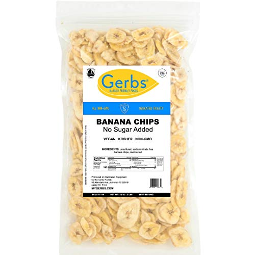 Banana Chips Unsweetened, 2 LBS – Unsulfured & Preservative Free - Top 14 Allergy Friendly & NON GMO by Gerbs - Product of ()