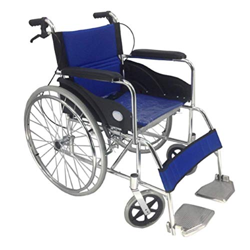 LQUIDE Lightweight Folding Wheelchair Driving Medical, Aluminum Alloy Wheelchair with Back Cushion Safety Belt Straight armrest Pedal - Deluxe Cushioned Double Swing