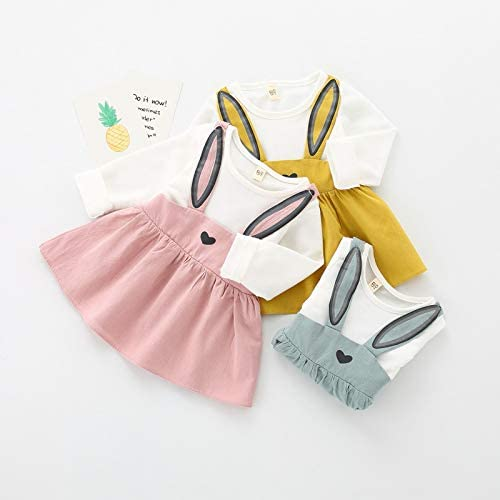 Newborn Baby Girls Dresses Rabbit Prints Fake Two Pieces Yellow Skirt Easter Baby Clothes