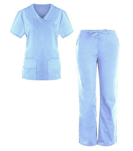 G Med Women's 4 Pockets Scrub Top and Pant 2 PC - True Blues Shirt Stripe