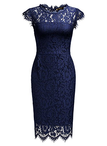 Miusol Women's Retro Floral Lace Slim Evening Cocktail Mini Dress