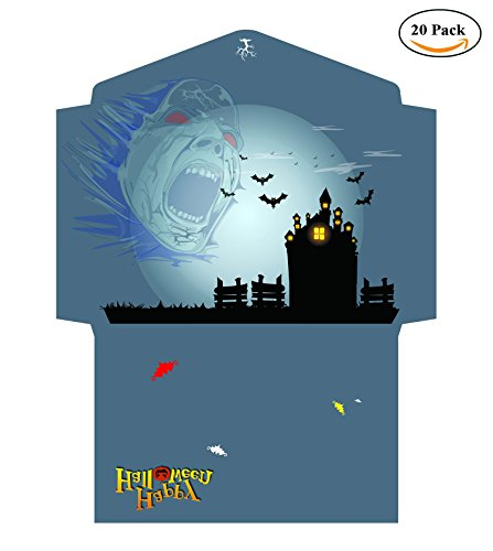 BeeChamp Halloween Party Invitation Open End Envelopes & Cards - 20 Envelopes w/ 30 Cards (haunted castle) (Diy Halo Halloween Costume)