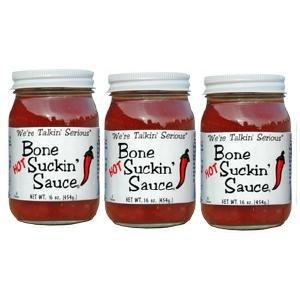 Bone Suckin' BBQ Sauce Hot, 16 Ounce Jar (pack of 3)