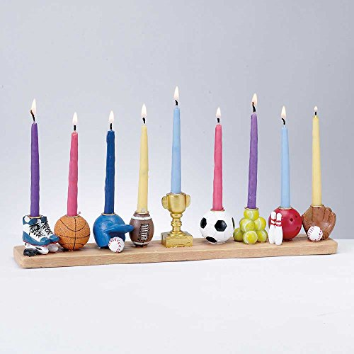 Assorted Sports Menorah Hand-painted Poly -