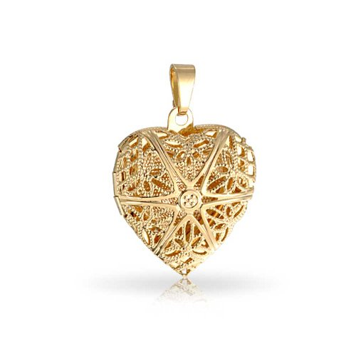 Bling Jewelry Vintage Style Filigree Star Heart Locket Pendant Necklace for Women for Teen 18K Gold Plated Brass