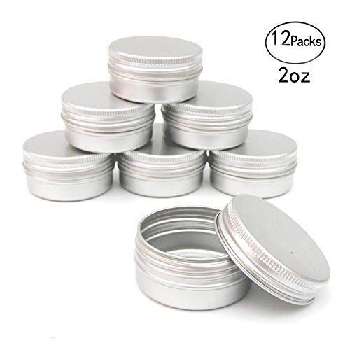 Healthcom 2oz 12 Pack Metal Steel Tin Flat Silver Metal Tins Empty Slip Slide Round Tin Containers With Tight Sealed Twist Screwtop Cover