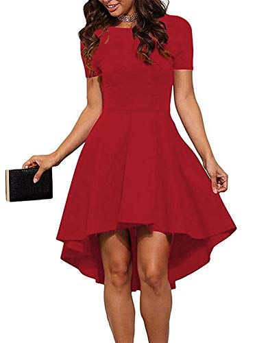 Women Womens Scoop Neck Short Sleeve High Low Cocktail Party Skater Dress Red X-Large