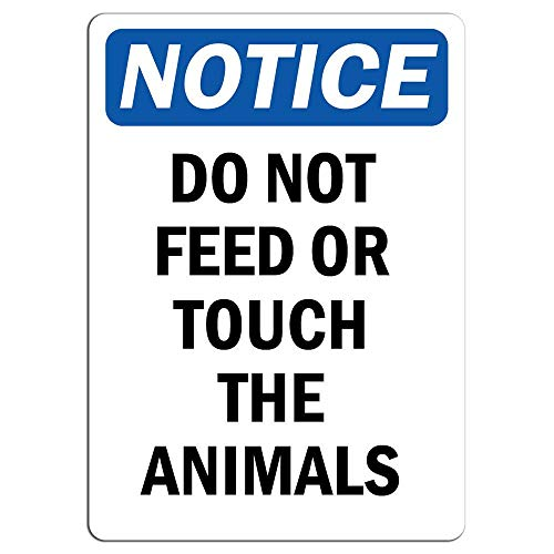 Feed Sign Tin Store (Notice Do Not Feed Or Touch The Animals Sign Store Sign Metal Sign Warning Saftey Sign Pre-drilled Holes for Easy Mounting)