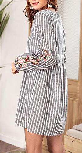 Dress V Short Embroidery Long Sleeve Grey Printed Sodossny Floral Stripe Womens AU Neck W4qxIgRPv