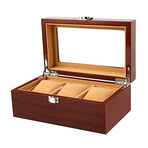 Watch Box Wooden 3 Slots Watch Case Jewelry Display Storage Boxes with Large Plastic Windows Top and Removal Storage Pillows Brown (Tray Watch Plastic Display)