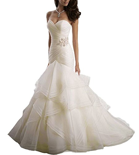 Beauty Bridal Sweetheart Ruffle Organza Women Mermaid Wedding Dresses(16,White)
