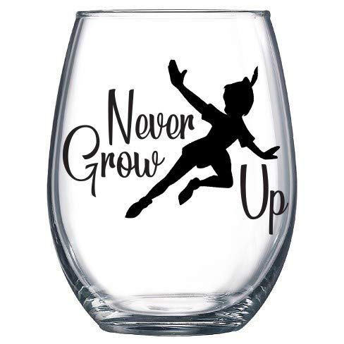 Never Grow Up Peter Pan Flying Decal ONLY Vinyl Sticker for Wine Glass, Mug, Or Cup