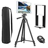 """Tripod for Tablet and Phone, PEYOU Upgraded 62"""" Aluminum Camera Tripod + [2 In 1] Tablet & Phone Holder Mount With Wireless Bluetooth Remote Shutter For iPhone Xs/Xs Max/X 8/8 Plus 7/7 Plus 6/6 Plus SE, For Samsung Galaxy S9/S9 Plus S8/S8 Plus S7/S7 Edge S6 Edge/S6 S5, For Apple iPad Pro 9.7"""" iPad Air 1/2 iPad Mini 1/2/3/4 and Other Devices"""
