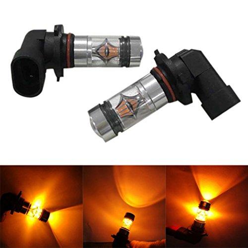Ecosin Fashion 2X H10 9005 9006 100W 20LED HID 2323 Fog Driving DRL Light Bulbs (Yellow)