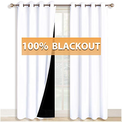 RYB HOME 100% Light Block White Curtains Full Shading Thermal Insulated Total Blackout Window Treatment Grommet Top Drapes for Shift Worker/Daytime Sleeper, 52 in width by 84 in length, 2 Panels