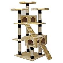 Go Pet Club F2084 72-Inch Cat Tree, Beige/Black