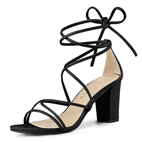 - Allegra K Women's Strappy Straps Lace Up Chunky Heel Black Sandals - 7.5 M US