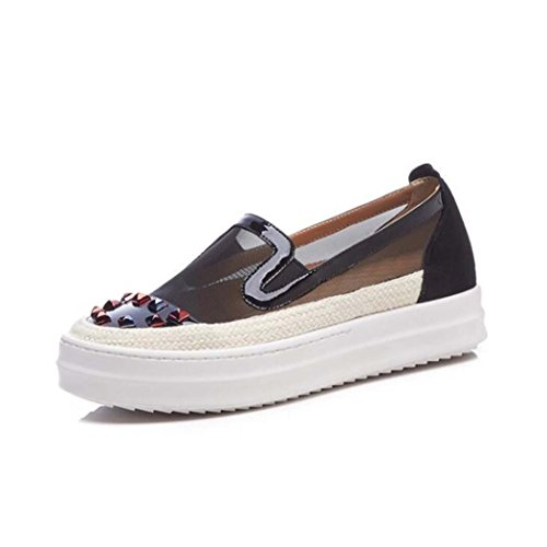 Zapatos Planos Ocasionales de Las Mujeres Huecos Zapatos Transpirables Negro/Rosa Talla 34-39 Negro
