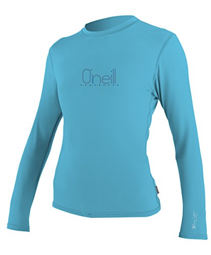 O'Neill Wetsuits UV Sun Protection Women's Tech 24-7 Long Sleeve Crew, Turquoise, Medium