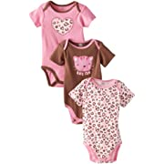 Gerber Baby-Girls Newborn 3 Pack Short Sleeve Onesies Brand Bodysuits, Leopard, 3-6 Months