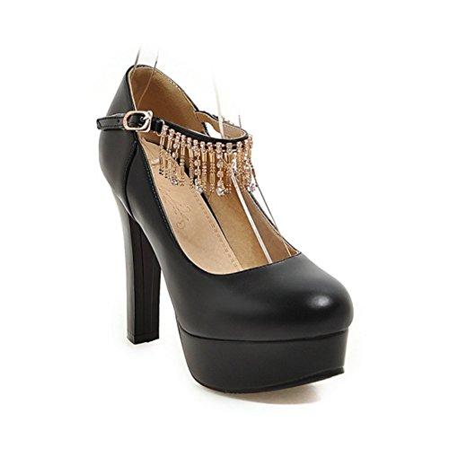 Tacon Impermeable de Damas Alto Mujer Solo de Zapatos de Agua Zapatos Flecos Taladro Zapatos Sandalette black DEDE Zapatos wtxpqAAZ