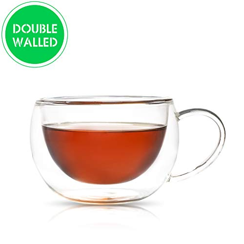 Teabox Duple Glass Teacup | Doublewalled Borosilicate Glass Insulated Tea Cup | Transparent, 6.8 fl oz
