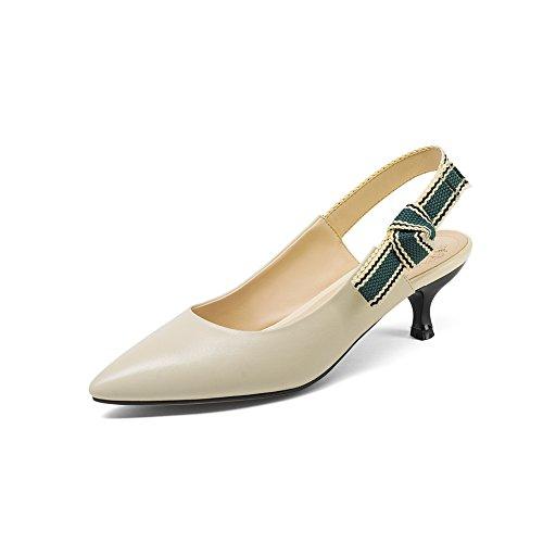 AJUNR Moda/elegante/Transpirable/Sandalias Zapatos de mujer Puntiaguda La Puntiaguda Poca boca Beige Sandals 5cm tacones Treinta y siete 37