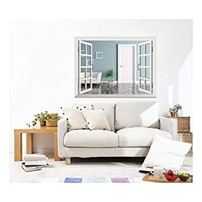 Wonderful Work of Art, it is good, Removable Wall Sticker Wall Mural Interior of a Room with Door and Armchair Creative Window View Wall Decor
