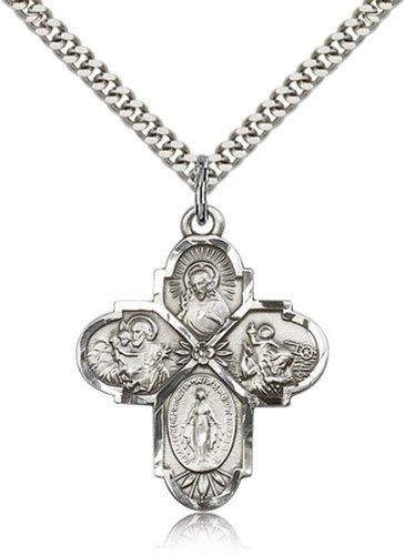 bliss Sterling Silver 4-Way Cross Pendant Medal, 1 1/4 Inch