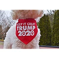 Custom Handmade KEEP IT GREAT TRUMP 2020 Dog Bandana Tie-on Style MAGA Pet Scarf for Trump Supporters, Small and Large Sizes, Made in USA