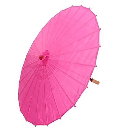 eDealMax bambú japonesa China de Estilo Tradicional Baile manualmente Parasol Umbrella 78cm Dia Fucsia